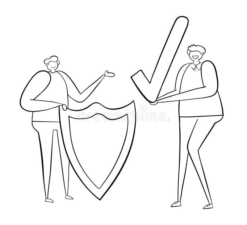 Homme avec le bouclier et tout autre coche de participation d'homme, illustration tirée par la main de vecteur Contours noirs, bl illustration libre de droits
