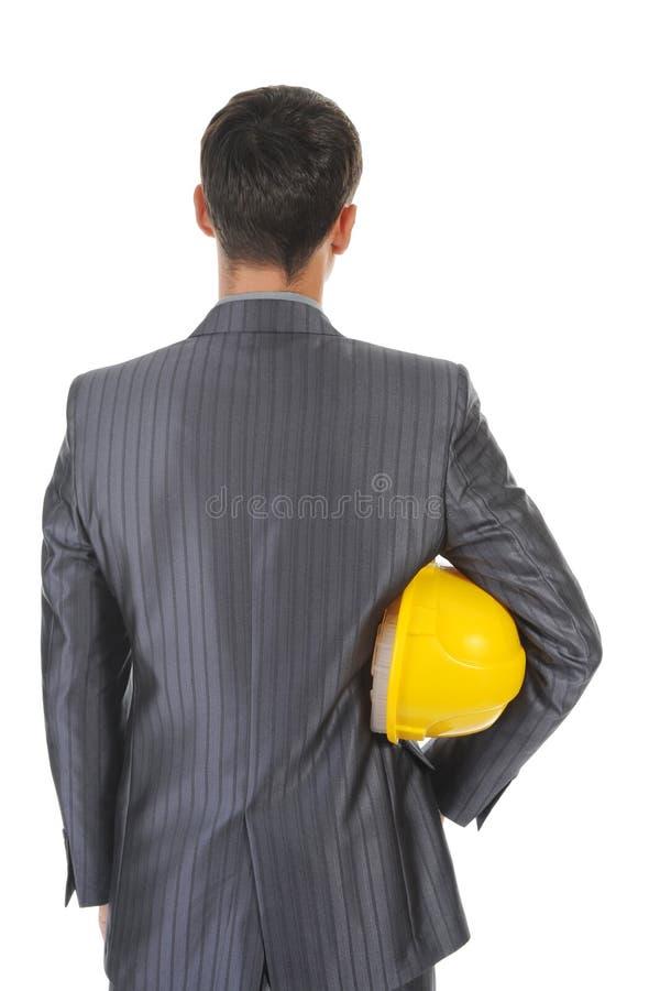 Homme avec le casque de construction images libres de droits