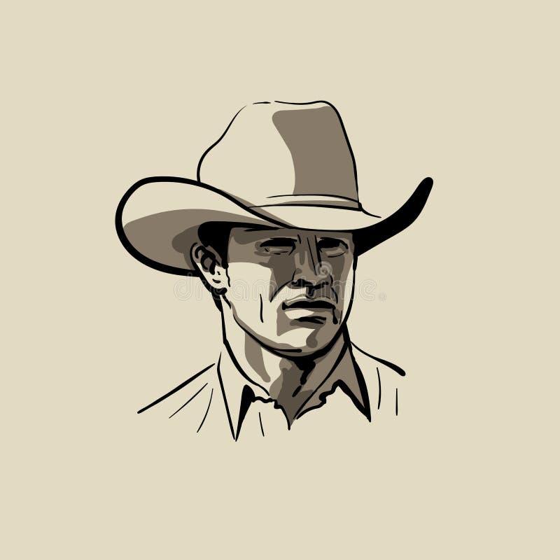 Homme avec le chapeau de cowboy occidental Portrait Vecteur de dessin de main de croquis de Digital illustration de vecteur