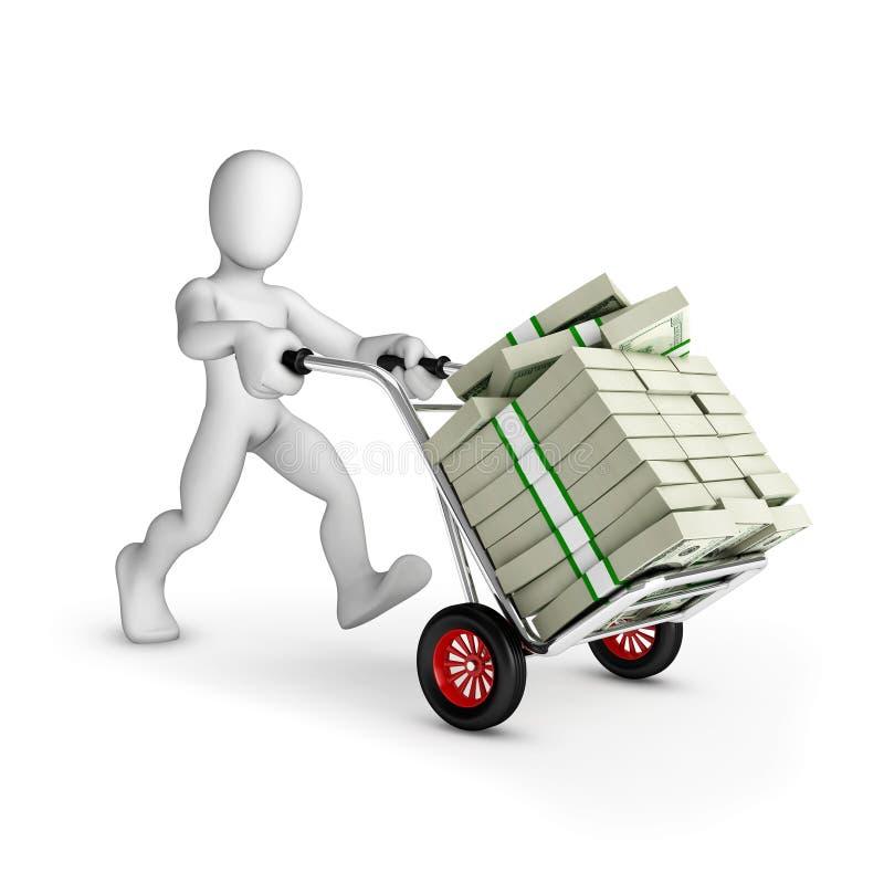 Homme avec le chariot plein des dollars US -  photo stock