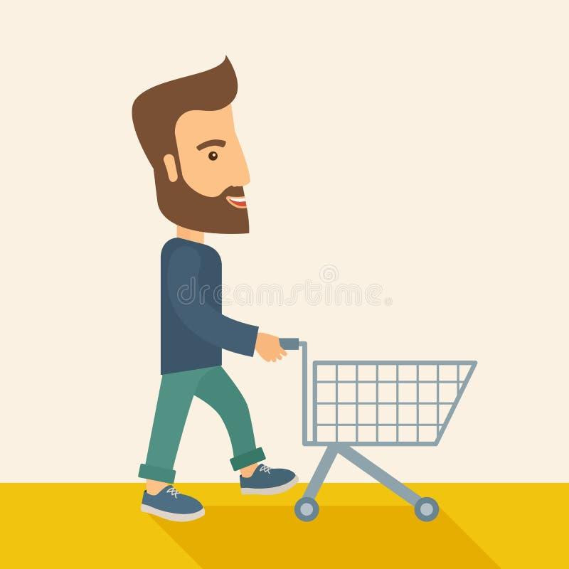 Homme avec le chariot vide illustration libre de droits