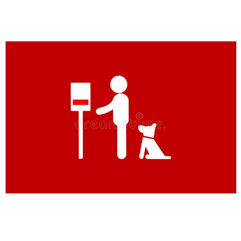 Homme avec le chien près d'un distributeur de sac de dunette de chien illustration stock