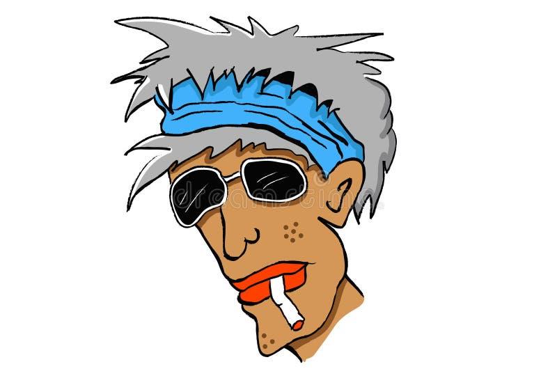 Homme avec le cigaratte illustration de vecteur