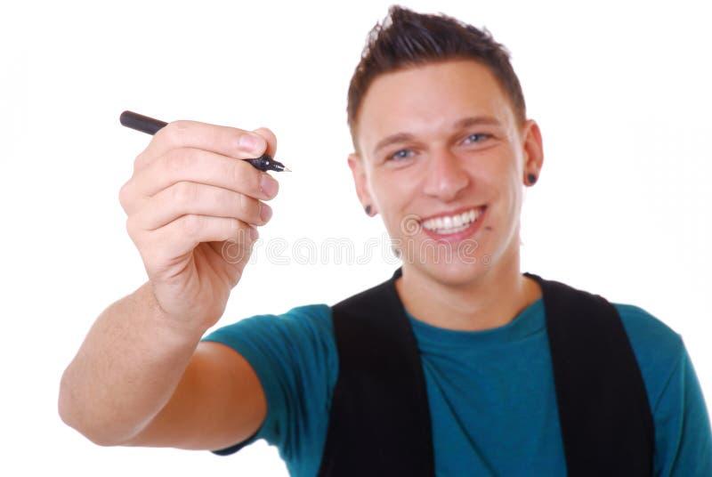 Homme avec le crayon lecteur image stock