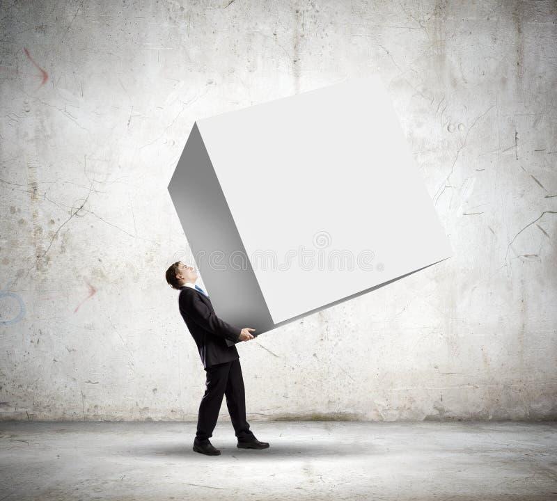 Homme avec le cube image libre de droits