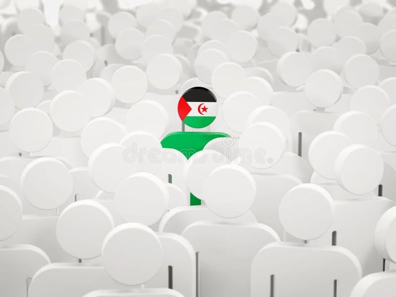 Homme avec le drapeau de la Sahara occidental dans une foule illustration de vecteur