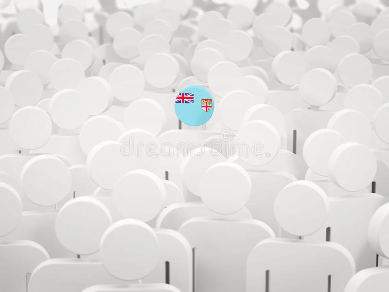 Homme avec le drapeau du Fiji dans une foule illustration stock