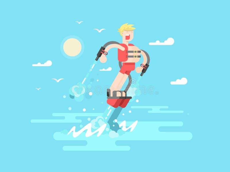Homme avec le flyboard illustration libre de droits
