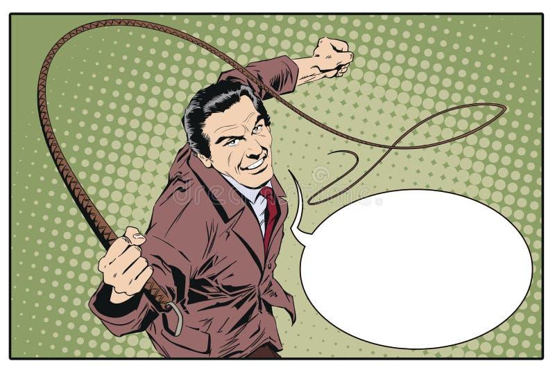 Homme avec le fouet Illustration courante illustration libre de droits