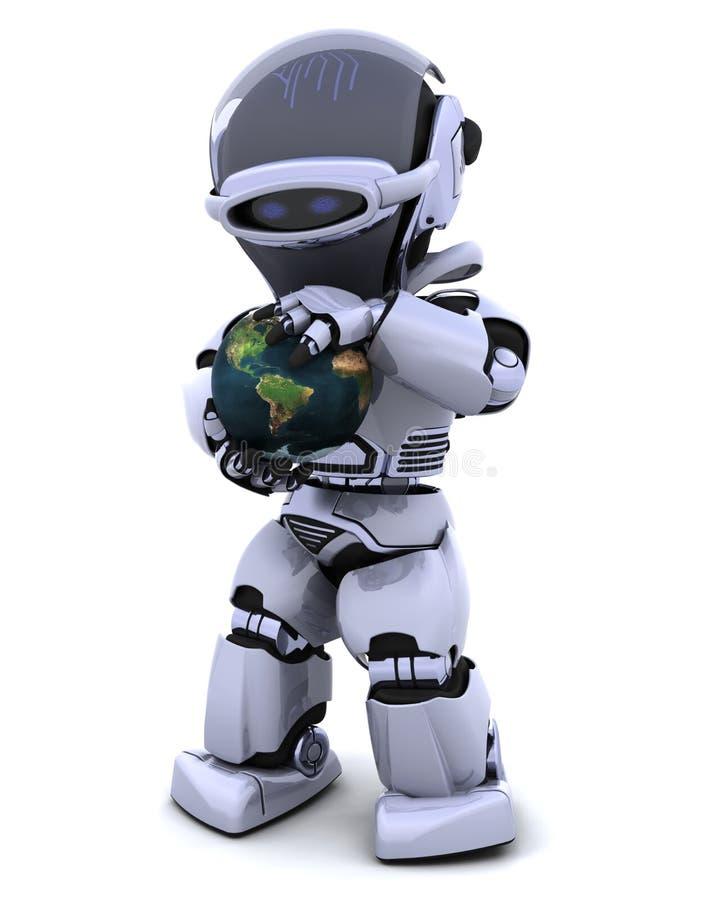 Homme avec le globe illustration de vecteur