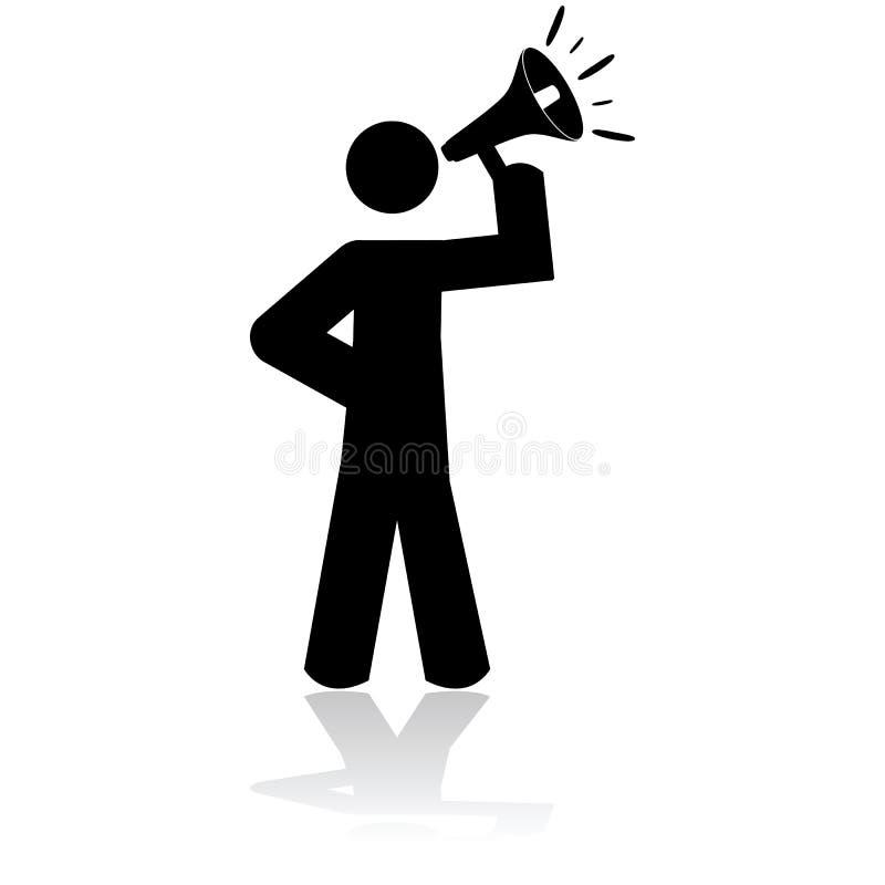 Homme avec le mégaphone illustration libre de droits