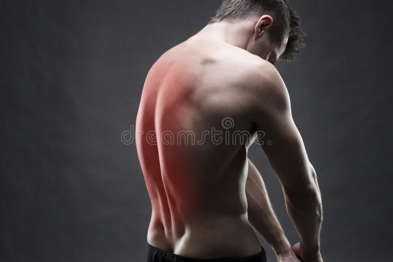 Homme avec le mal de dos Douleur au corps humain Fuselage mâle musculaire Bodybuilder beau posant sur le fond gris photo stock