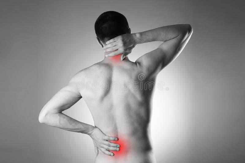 Homme avec le mal de dos Douleur dans le corps de l'homme image stock