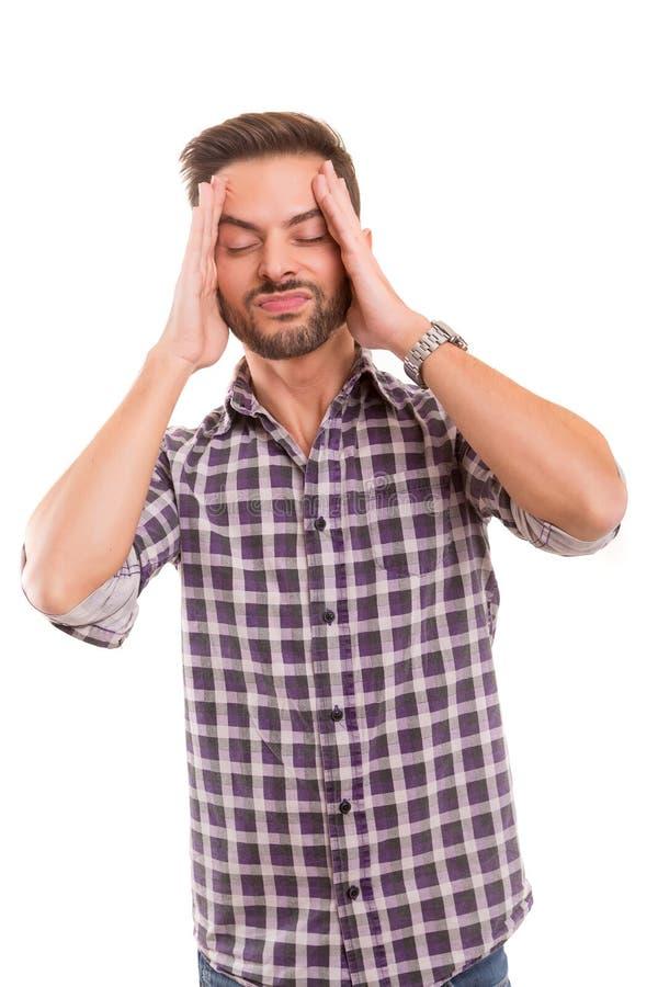 Homme avec le mal de tête images libres de droits