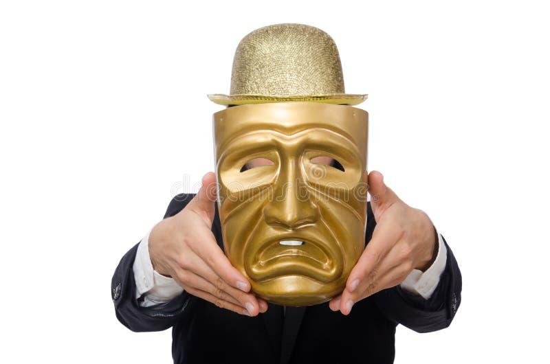 Homme avec le masque de théâtre d'isolement sur le blanc image stock