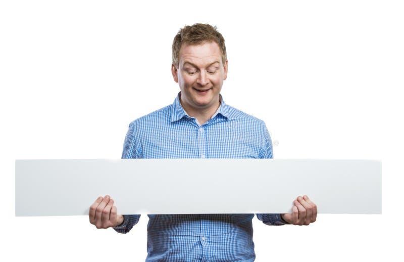 Homme avec le panneau vide de signe images stock