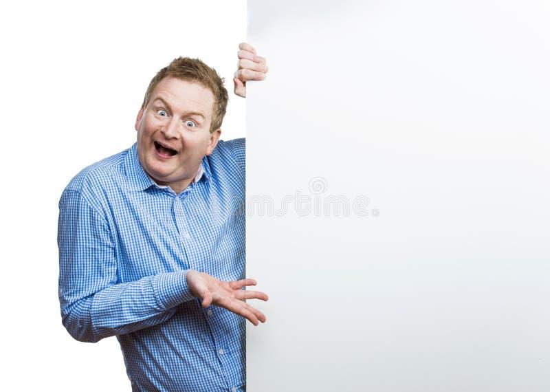 Homme avec le panneau vide de signe photos libres de droits