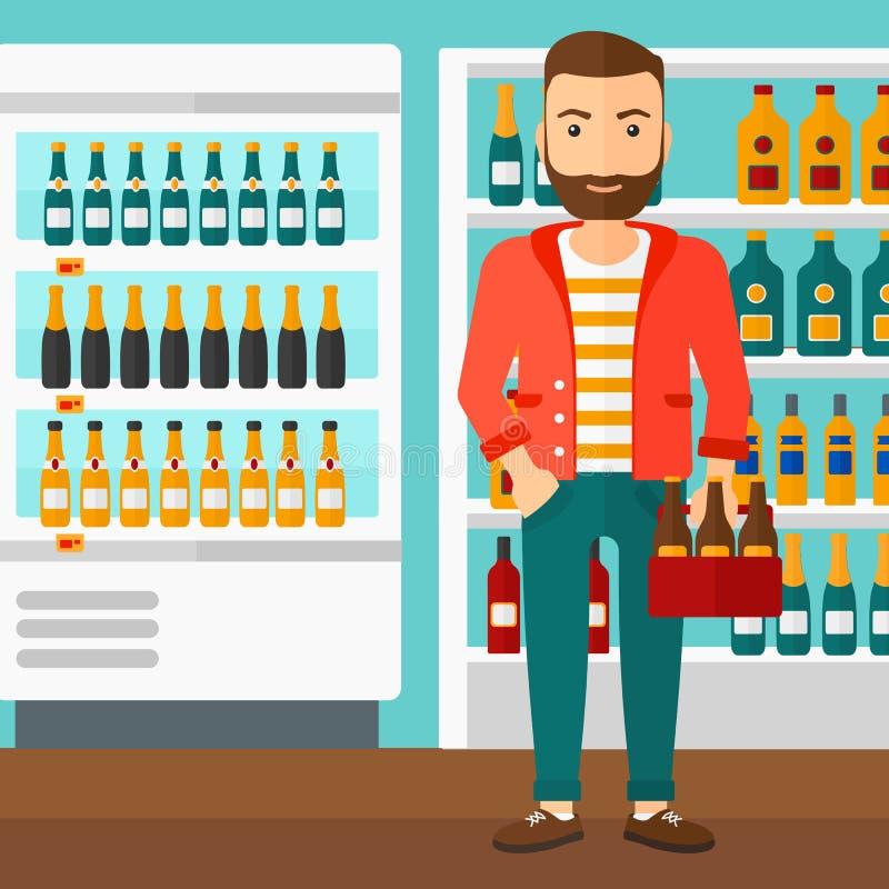 Homme avec le paquet de bière illustration de vecteur