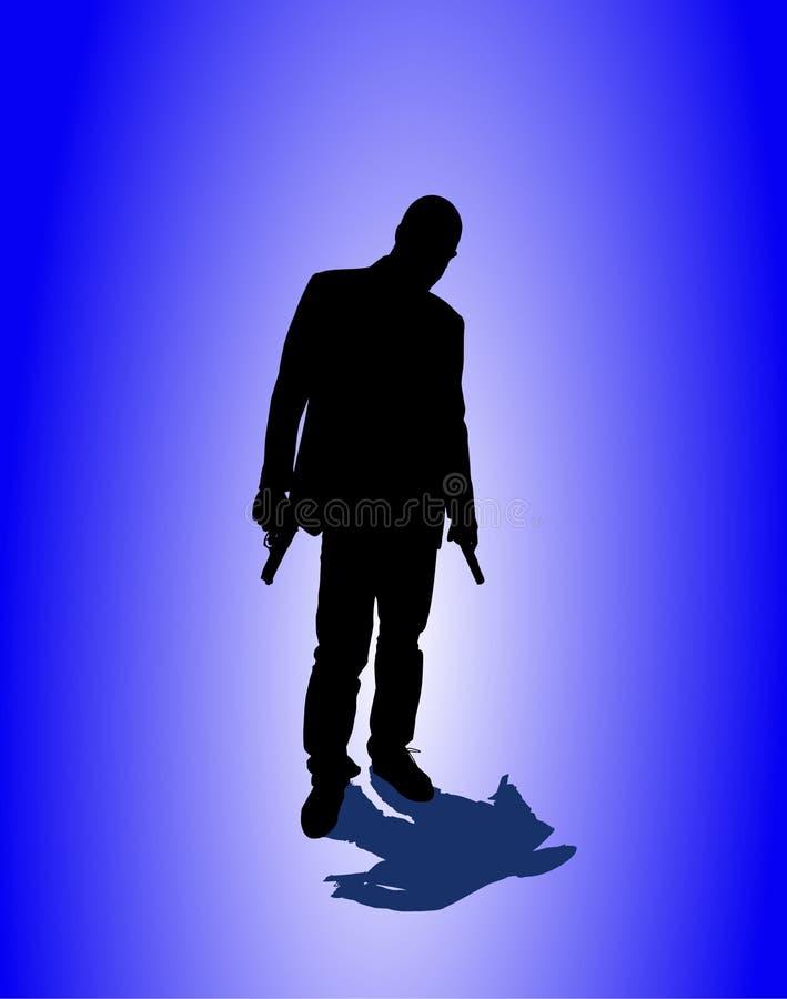 Homme avec le pistolet illustration libre de droits