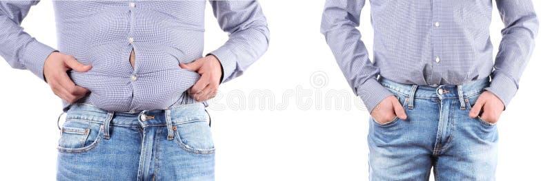 Homme avec le poids excessif Avant et après pesez la perte photos libres de droits