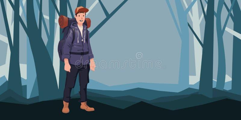 Homme avec le sac à dos dans la forêt augmentant, récréation extérieure active Illustration de vecteur illustration de vecteur