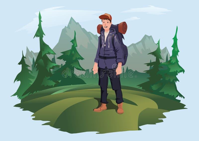Homme avec le sac à dos sur le fond du paysage de montagne Tourisme de montagne, augmentant, récréation extérieure active illustration stock