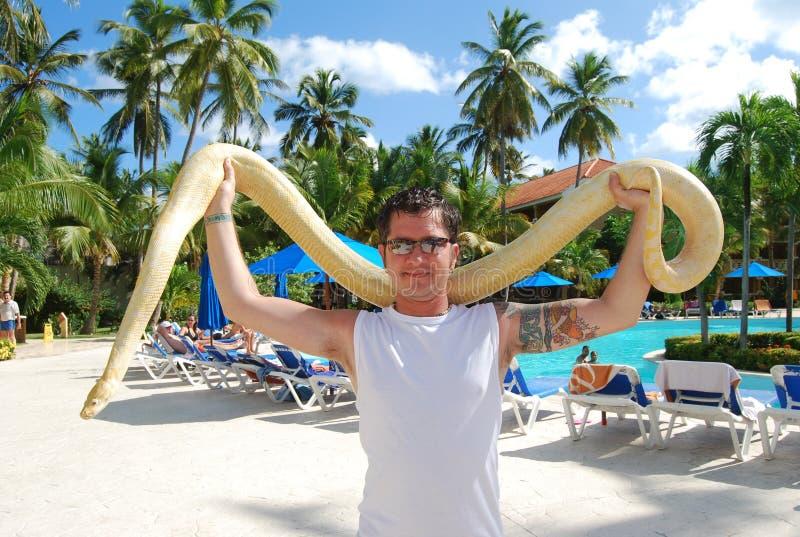 Homme avec le serpent images libres de droits
