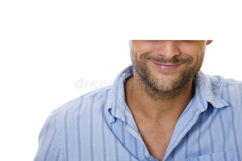 Homme avec le signe photo stock