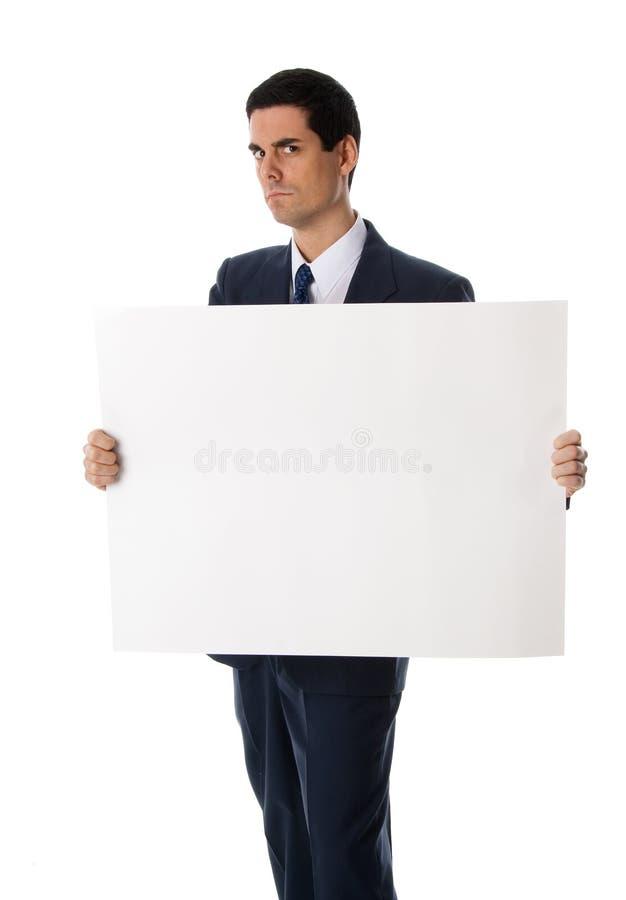 Homme avec le signe blanc photos libres de droits