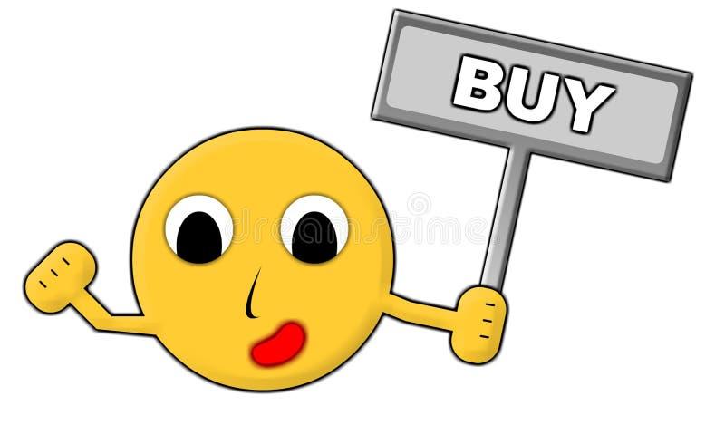 Homme avec le signe d'achat illustration libre de droits
