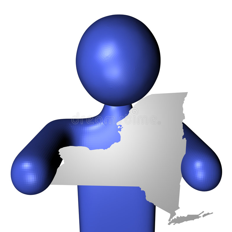 Homme avec le signe de carte de New York illustration stock