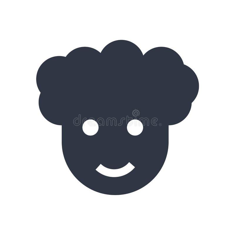 Homme avec le signe et le symbole Afro de vecteur d'icône de coiffure d'isolement sur le fond blanc, homme avec le concept Afro d illustration libre de droits