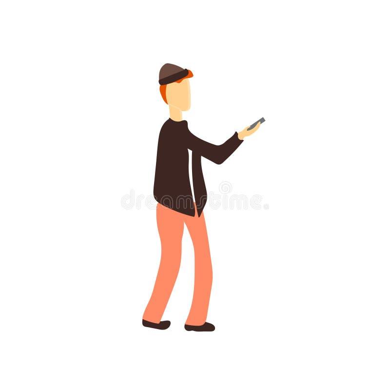 Homme avec le signe et le symbole de vecteur de vecteur de téléphone d'isolement sur le fond blanc, homme avec le concept de logo illustration stock