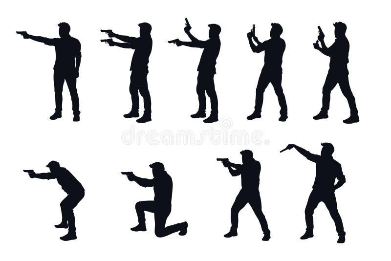 Homme avec le silhhouette d'arme à feu dans l'ensemble illustration libre de droits