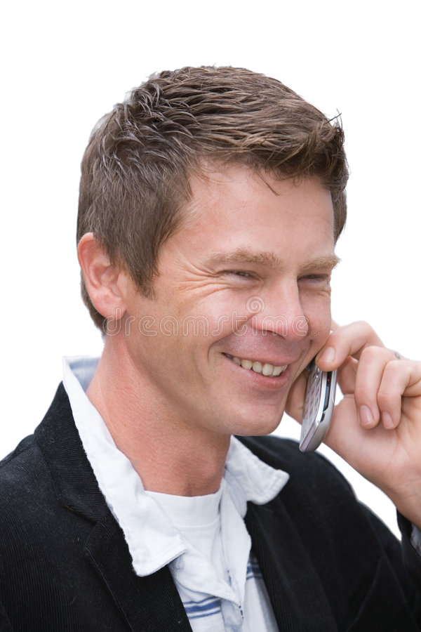 Homme avec le téléphone portable photos libres de droits