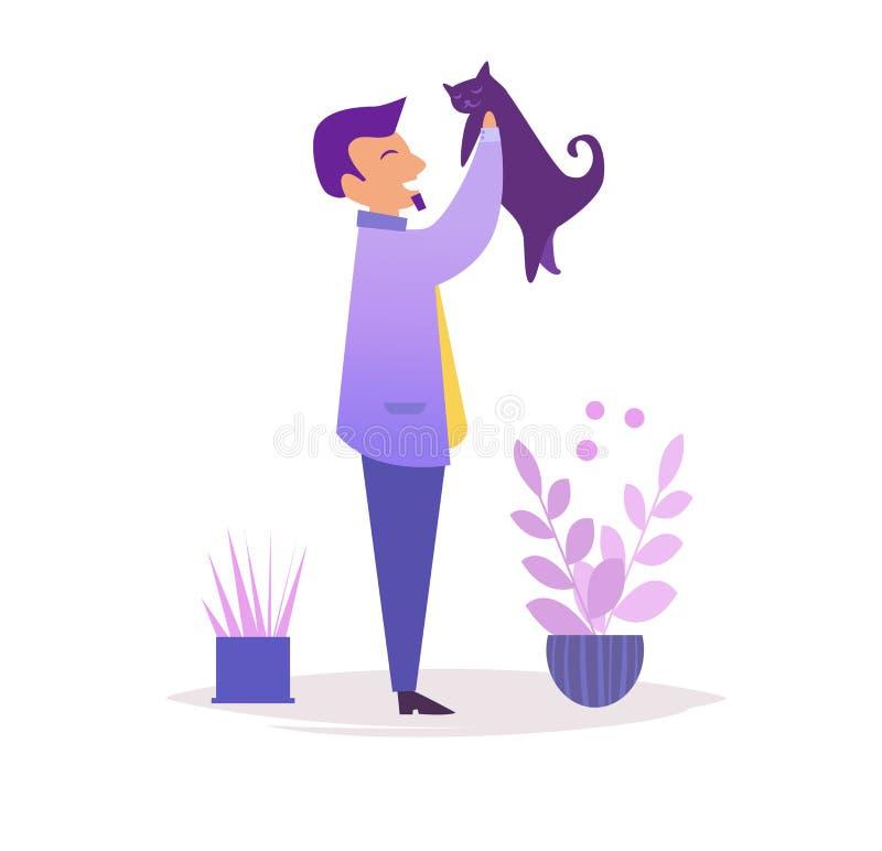 Homme avec le vecteur de chat cartoon Art d'isolement sur le fond blanc plat illustration stock