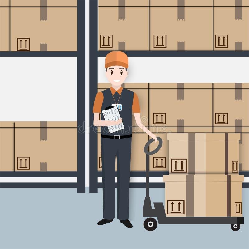 Homme avec les boîtes et l'icône d'ascenseur de cric de palette de main illustration stock