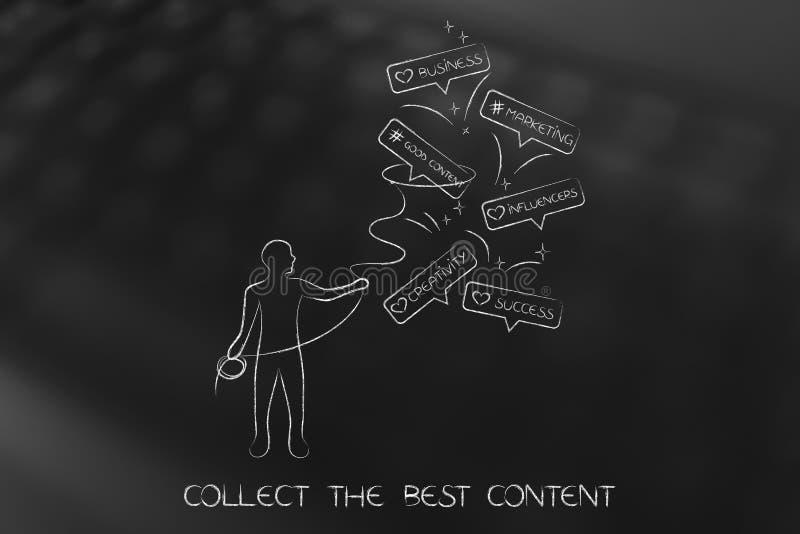 Homme avec les icônes de saisie de commentaire de lasso avec des concepts sociaux de media illustration stock