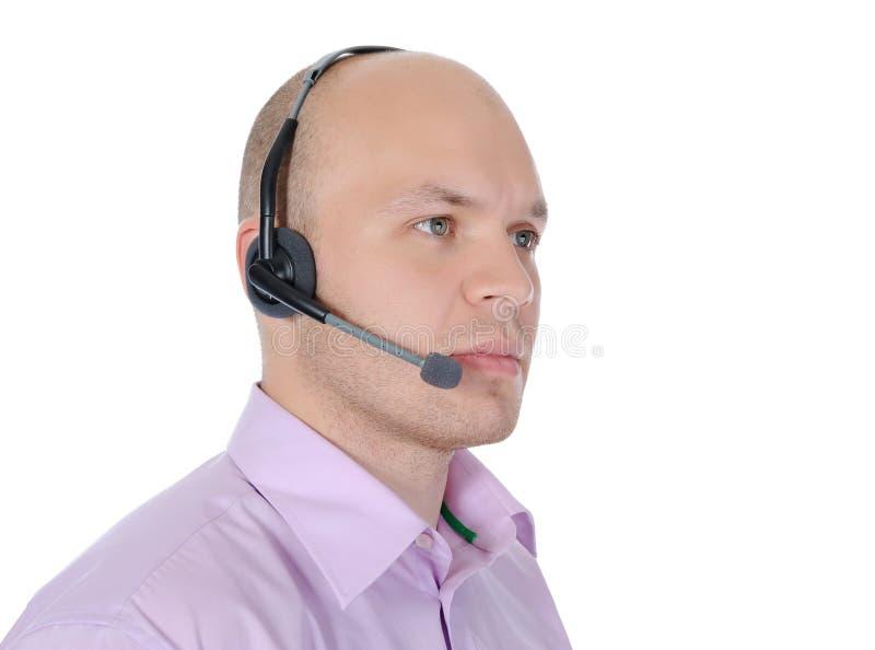 Homme avec un écouteur image libre de droits