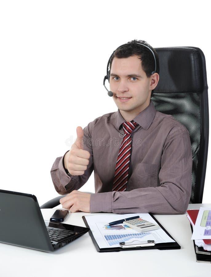 Homme avec un écouteur images stock