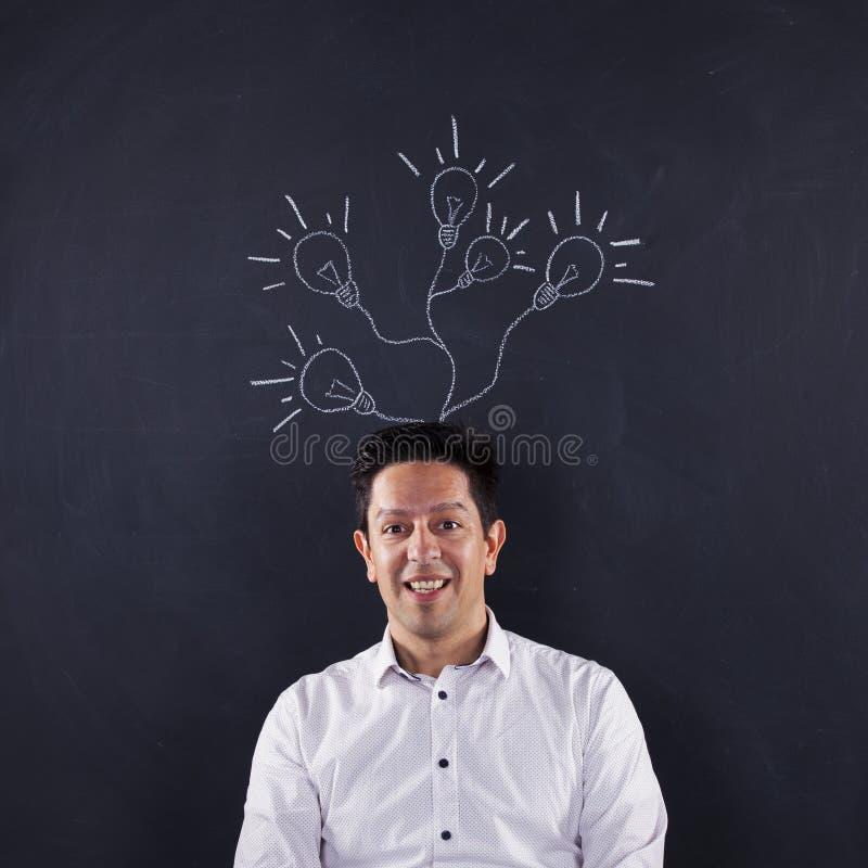 Homme avec un bon nombre de créativité images libres de droits