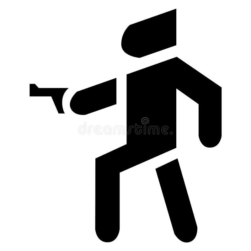 Homme avec un canon Icône militaire de silhouette d'agent de soldat ou d'armée illustration de vecteur
