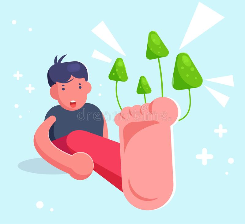 Homme avec un champignon sur le vecteur de clous cartoon D'isolement illustration stock