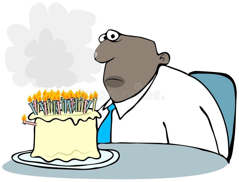 Homme avec un gâteau d'anniversaire de tabagisme illustration stock