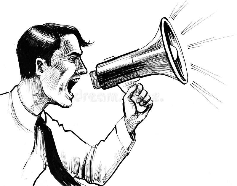 Homme avec un haut-parleur illustration de vecteur