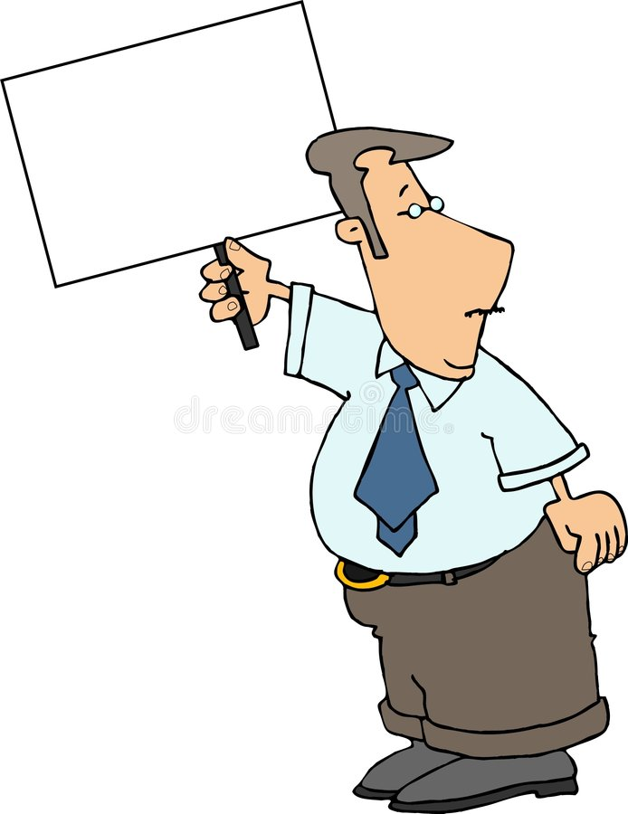 Homme avec un signe blanc illustration libre de droits
