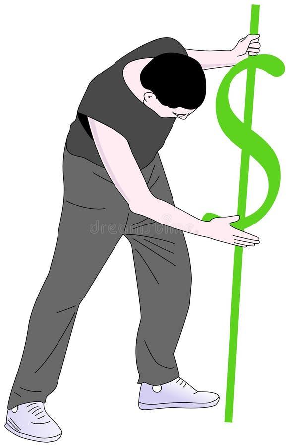 Homme avec un signe du dollar la poinçonnant dans le sol photos libres de droits