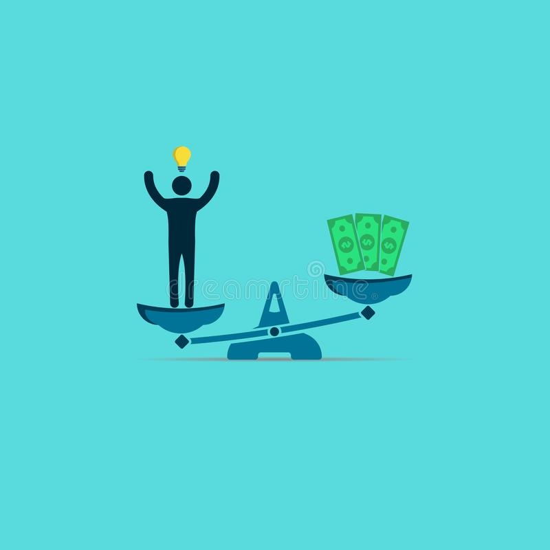 homme avec une ampoule et argent sur les échelles Un homme avec une idée fraîche est meilleur que l'argent Symbole de vecteur illustration libre de droits
