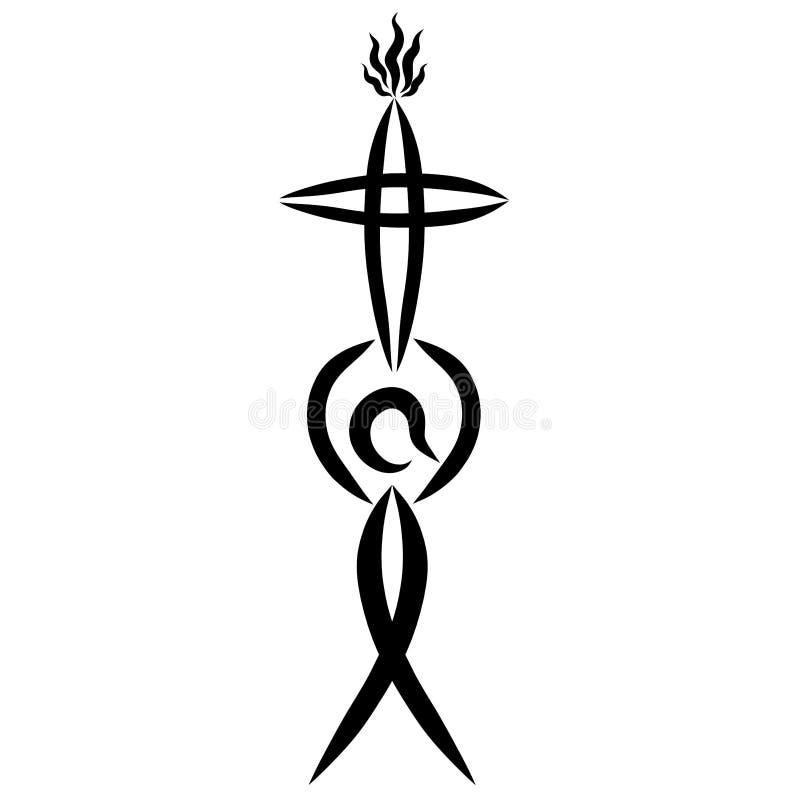 Homme avec une croix dans des ses mains, flamme, symbolisme de Christine photo libre de droits