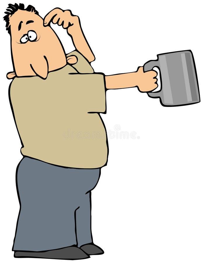 Homme avec une cuvette de bidon illustration libre de droits